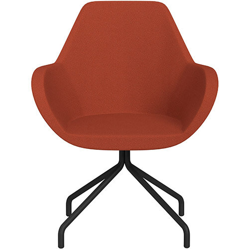 Fan 4 Legged Swivel Armchair Dark Orange Evo Fabric Seat &Black Base with Universal Teflon Glides  - Perfect Seating Solution for Breakout, Reception Areas &Boardroom