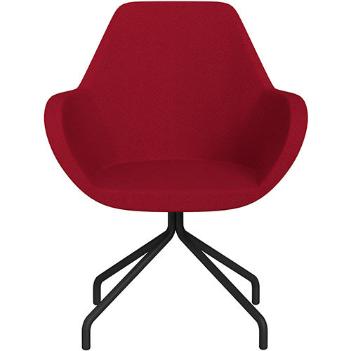Fan 4 Legged Swivel Armchair Red Evo Fabric Seat &Black Base with Universal Teflon Glides  - Perfect Seating Solution for Breakout, Reception Areas &Boardroom