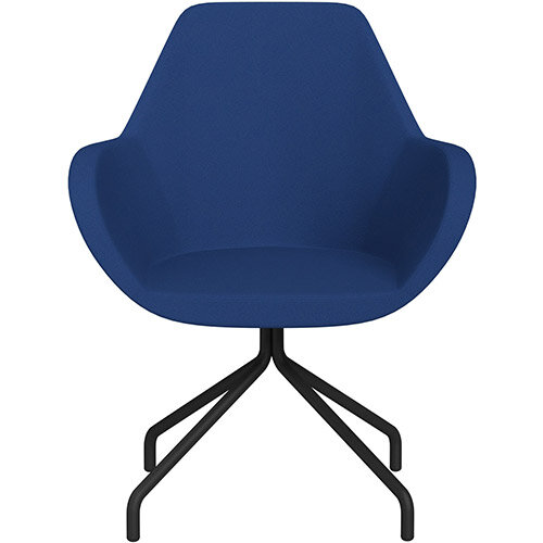 Fan 4 Legged Swivel Armchair Blue Evo Fabric Seat &Black Base with Universal Teflon Glides  - Perfect Seating Solution for Breakout, Reception Areas &Boardroom