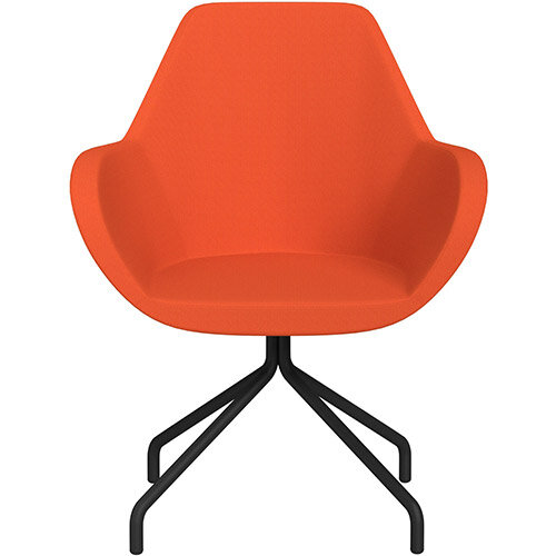 Fan 4 Legged Swivel Armchair Orange Sprint Fabric Seat &Black Base with Universal Teflon Glides  - Perfect Seating Solution for Breakout, Reception Areas &Boardroom