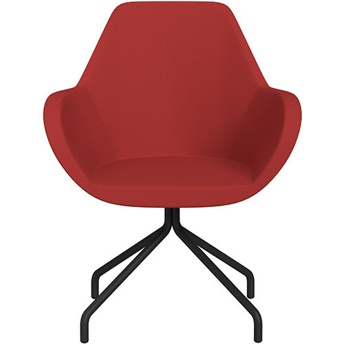 Fan 4 Legged Swivel Armchair Classic Red Sprint Fabric Seat &Black Base with Universal Teflon Glides  - Perfect Seating Solution for Breakout, Reception Areas &Boardroom