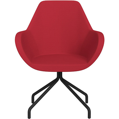 Fan 4 Legged Swivel Armchair Vivid Red Sprint Fabric Seat &Black Base with Universal Teflon Glides  - Perfect Seating Solution for Breakout, Reception Areas &Boardroom
