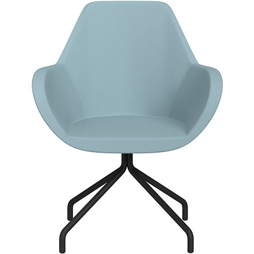 Fan 4 Legged Swivel Armchair Light Blue Sprint Fabric Seat &Black Base with Universal Teflon Glides  - Perfect Seating Solution for Breakout, Reception Areas &Boardroom