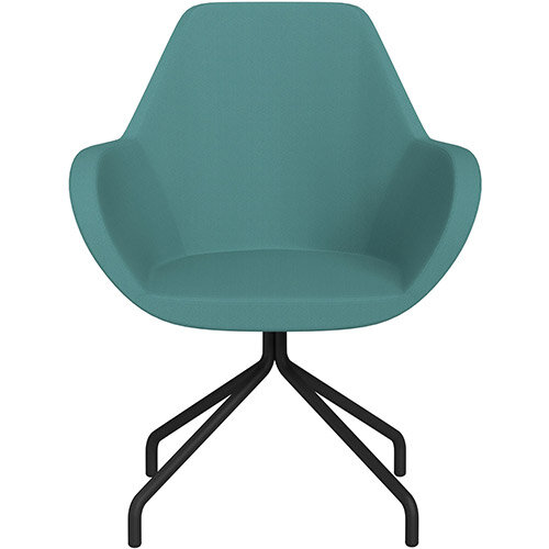 Fan 4 Legged Swivel Armchair Muddy Aqua Sprint Fabric Seat &Black Base with Universal Teflon Glides  - Perfect Seating Solution for Breakout, Reception Areas &Boardroom