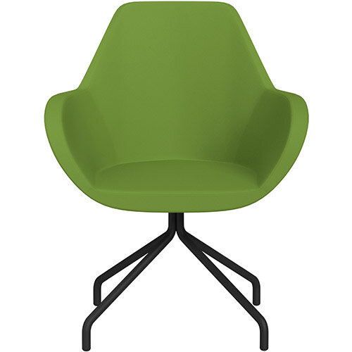 Fan 4 Legged Swivel Armchair Green Valencia Leather Look Seat &Black Base with Universal Teflon Glides  - Perfect Seating Solution for Breakout, Reception Areas &Boardroom