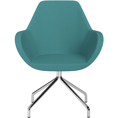 Fan 4 Legged Swivel Armchair Aqua Green Evo Fabric Seat &Chrome Base with Universal Teflon Glides - Perfect Seating Solution for Breakout, Reception Areas &Boardroom