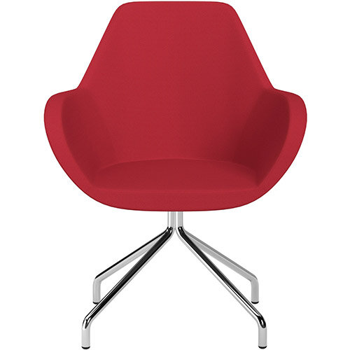 Fan 4 Legged Swivel Armchair Vivid Red Sprint Fabric Seat &Chrome Base with Universal Teflon Glides  - Perfect Seating Solution for Breakout, Reception Areas &Boardroom