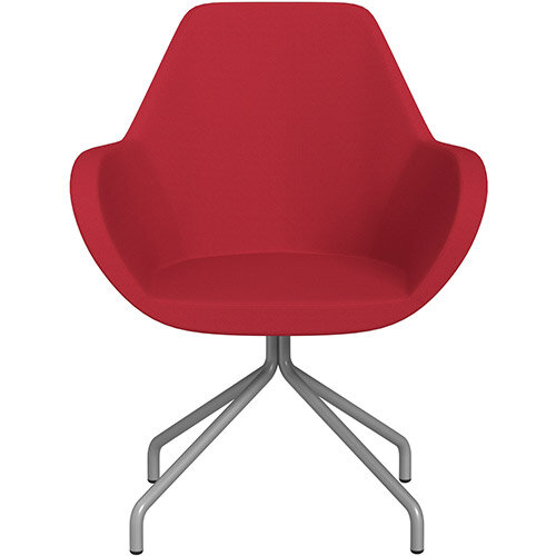 Fan 4 Legged Swivel Armchair Vivid Red Sprint Fabric Seat &Metallic Silver Base with Universal Teflon Glides  - Perfect Seating Solution for Breakout, Reception Areas &Boardroom