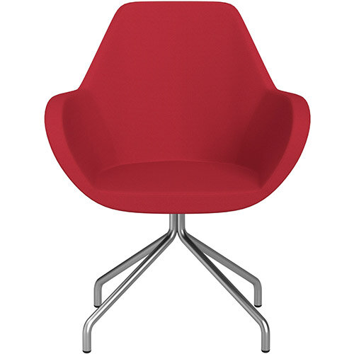 Fan 4 Legged Swivel Armchair Vivid Red Sprint Fabric Seat &Satine Base with Universal Teflon Glides  - Perfect Seating Solution for Breakout, Reception Areas &Boardroom