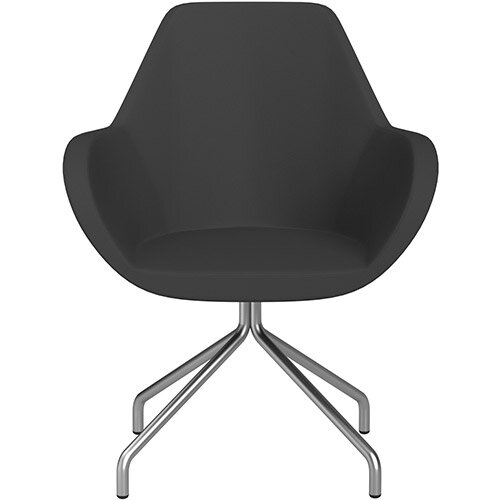 Fan 4 Legged Swivel Armchair Charcoal Valencia Leather Look Seat &Satine Base with Universal Teflon Glides  - Perfect Seating Solution for Breakout, Reception Areas &Boardroom
