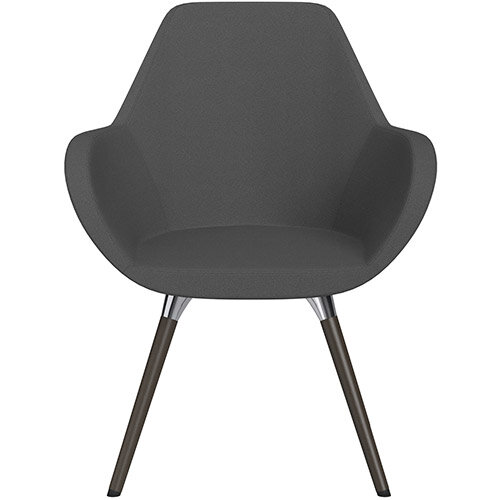 Fan Armchair with Wooden Legs Dark Grey Evo Fabric Seat &Dark Brown H11 Lacquer Base with Universal Teflon Glides  - Perfect Seating Solution for Breakout, Reception Areas &Boardroom