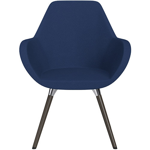 Fan Armchair with Wooden Legs Navy Evo Fabric Seat &Dark Brown H11 Lacquer Base with Universal Teflon Glides  - Perfect Seating Solution for Breakout, Reception Areas &Boardroom