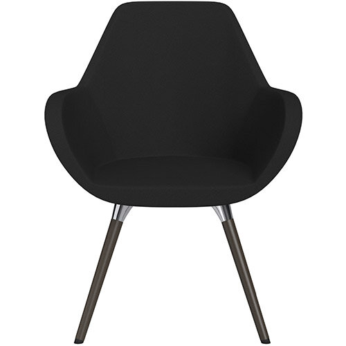 Fan Armchair with Wooden Legs Black Evo Fabric Seat &Dark Brown H11 Lacquer Base with Universal Teflon Glides  - Perfect Seating Solution for Breakout, Reception Areas &Boardroom