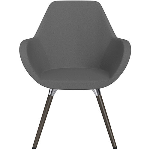 Fan Armchair with Wooden Legs Grey Evo Fabric Seat &Dark Brown H11 Lacquer Base with Universal Teflon Glides  - Perfect Seating Solution for Breakout, Reception Areas &Boardroom