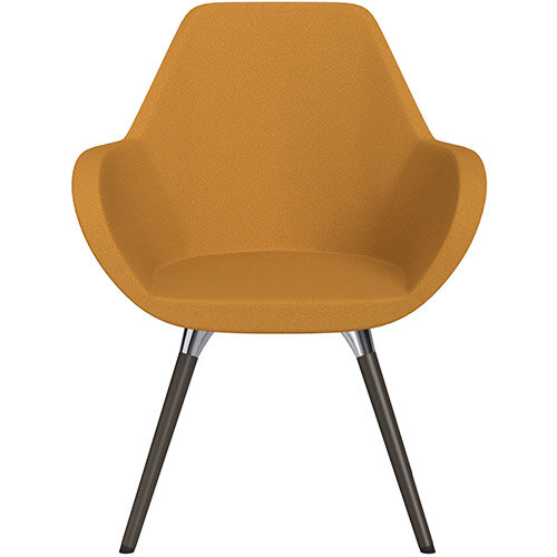 Fan Armchair with Wooden Legs Yellow Evo Fabric Seat &Dark Brown H11 Lacquer Base with Universal Teflon Glides  - Perfect Seating Solution for Breakout, Reception Areas &Boardroom