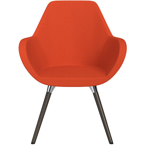 Fan Armchair with Wooden Legs Light Orange Evo Fabric Seat &Dark Brown H11 Lacquer Base with Universal Teflon Glides  - Perfect Seating Solution for Breakout, Reception Areas &Boardroom