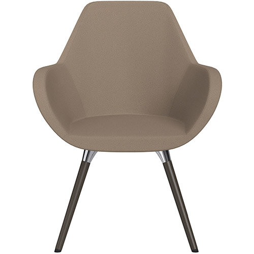 Fan Armchair with Wooden Legs Beige Evo Fabric Seat &Dark Brown H11 Lacquer Base with Universal Teflon Glides  - Perfect Seating Solution for Breakout, Reception Areas &Boardroom
