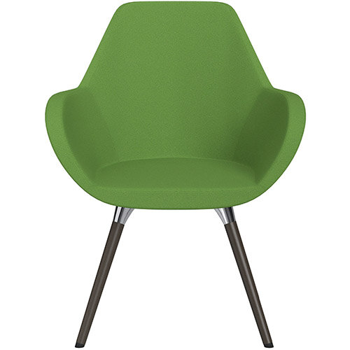 Fan Armchair with Wooden Legs Green Evo Fabric Seat &Dark Brown H11 Lacquer Base with Universal Teflon Glides - Perfect Seating Solution for Breakout, Reception Areas &Boardroom