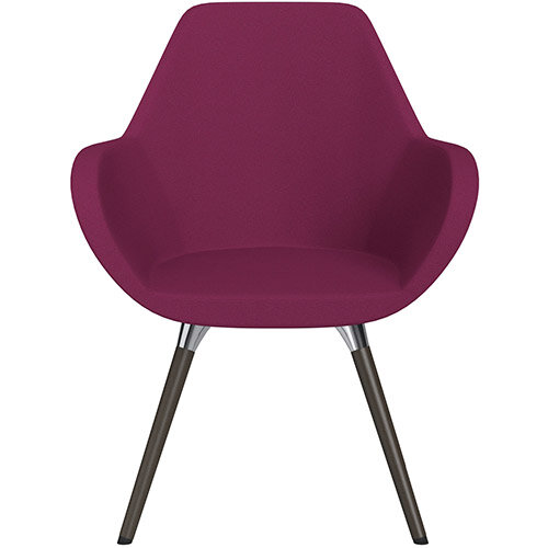 Fan Armchair with Wooden Legs Pink Evo Fabric Seat &Dark Brown H11 Lacquer Base with Universal Teflon Glides  - Perfect Seating Solution for Breakout, Reception Areas &Boardroom
