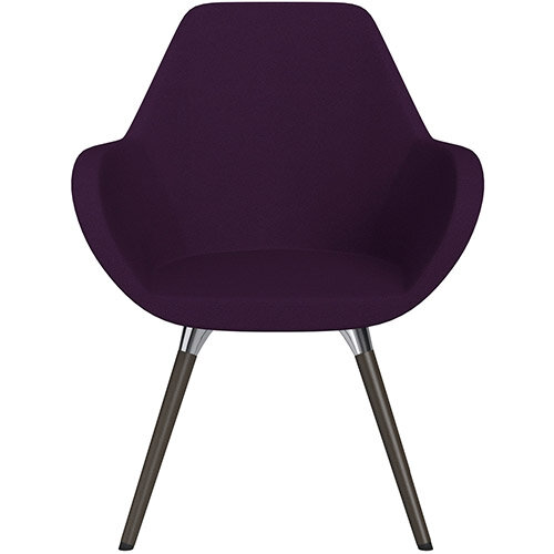 Fan Armchair with Wooden Legs Purple Evo Fabric Seat &Dark Brown H11 Lacquer Base with Universal Teflon Glides  - Perfect Seating Solution for Breakout, Reception Areas &Boardroom
