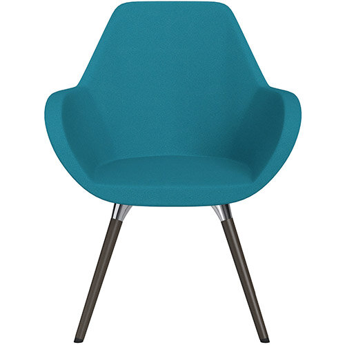 Fan Armchair with Wooden Legs Aquamarine Evo Fabric Seat &Dark Brown H11 Lacquer Base with Universal Teflon Glides  - Perfect Seating Solution for Breakout, Reception Areas &Boardroom