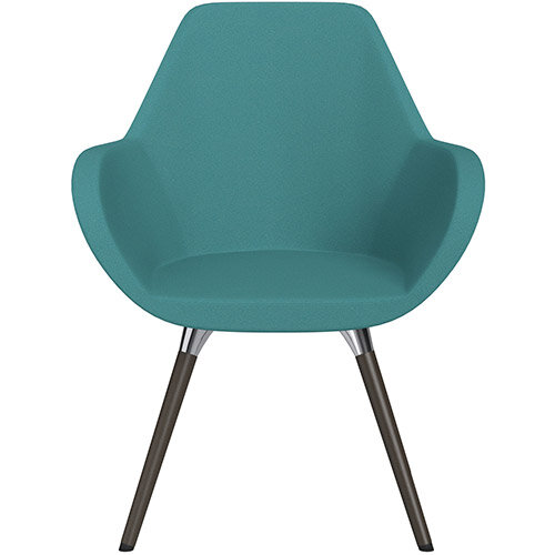 Fan Armchair with Wooden Legs Aqua Green Evo Fabric Seat &Dark Brown H11 Lacquer Base with Universal Teflon Glides - Perfect Seating Solution for Breakout, Reception Areas &Boardroom