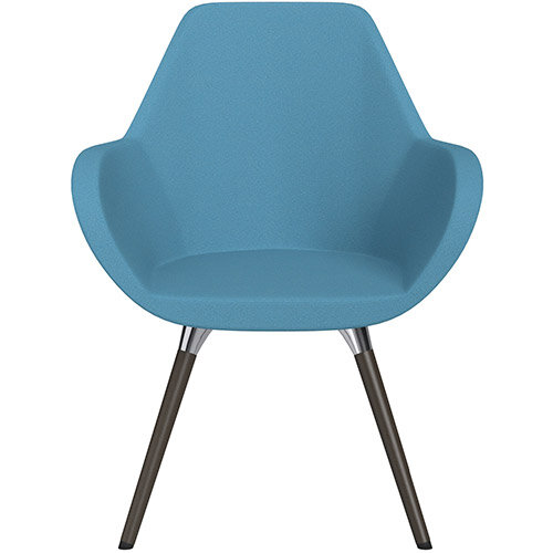 Fan Armchair with Wooden Legs Light Blue Evo Fabric Seat &Dark Brown H11 Lacquer Base with Universal Teflon Glides  - Perfect Seating Solution for Breakout, Reception Areas &Boardroom
