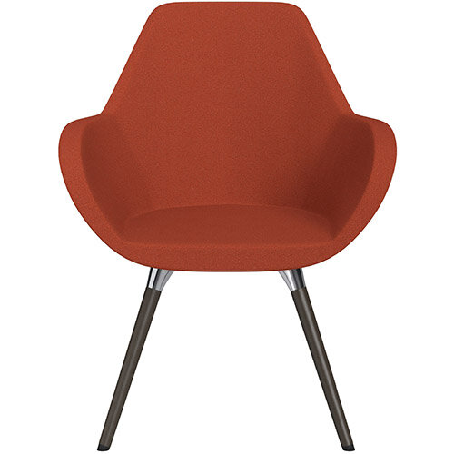 Fan Armchair with Wooden Legs Dark Orange Evo Fabric Seat &Dark Brown H11 Lacquer Base with Universal Teflon Glides  - Perfect Seating Solution for Breakout, Reception Areas &Boardroom