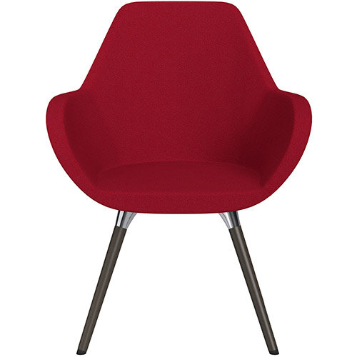 Fan Armchair with Wooden Legs Red Evo Fabric Seat &Dark Brown H11 Lacquer Base with Universal Teflon Glides  - Perfect Seating Solution for Breakout, Reception Areas &Boardroom