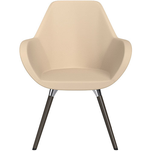 Fan Armchair with Wooden Legs Beige Softline Leather Look Seat &Dark Brown H11 Lacquer Base with Universal Teflon Glides  - Perfect Seating Solution for Breakout, Reception Areas &Boardroom