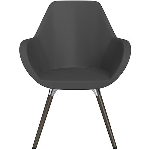 Fan Armchair with Wooden Legs Dark Brown Softline Leather Look Seat &Dark Brown H11 Lacquer Base with Universal Teflon Glides  - Perfect Seating Solution for Breakout, Reception Areas &Boardroom
