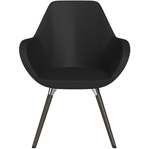 Fan Armchair with Wooden Legs Black Softline Leather Look Seat &Dark Brown H11 Lacquer Base with Universal Teflon Glides  - Perfect Seating Solution for Breakout, Reception Areas &Boardroom
