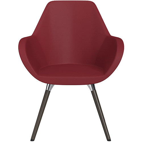 Fan Armchair with Wooden Legs Red Softline Leather Look Seat &Dark Brown H11 Lacquer Base with Universal Teflon Glides  - Perfect Seating Solution for Breakout, Reception Areas &Boardroom