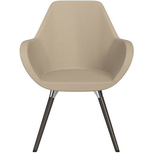 Fan Armchair with Wooden Legs Light Brown Softline Leather Look Seat &Dark Brown H11 Lacquer Base with Universal Teflon Glides  - Perfect Seating Solution for Breakout, Reception Areas &Boardroom
