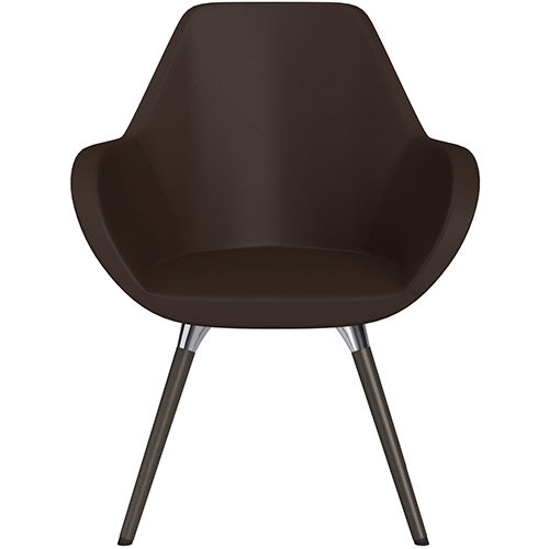 Fan Armchair with Wooden Legs Brown Softline Leather Look Seat &Dark Brown H11 Lacquer Base with Universal Teflon Glides  - Perfect Seating Solution for Breakout, Reception Areas &Boardroom