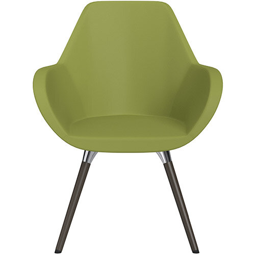Fan Armchair with Wooden Legs Olive Green Softline Leather Look Seat &Dark Brown H11 Lacquer Base with Universal Teflon Glides - Perfect Seating Solution for Breakout, Reception Areas &Boardroom