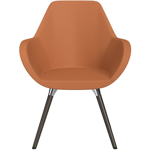 Fan Armchair with Wooden Legs Orange Softline Leather Look Seat &Dark Brown H11 Lacquer Base with Universal Teflon Glides  - Perfect Seating Solution for Breakout, Reception Areas &Boardroom