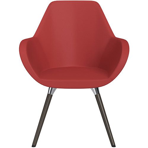 Fan Armchair with Wooden Legs Light Red Softline Leather Look Seat &Dark Brown H11 Lacquer Base with Universal Teflon Glides  - Perfect Seating Solution for Breakout, Reception Areas &Boardroom