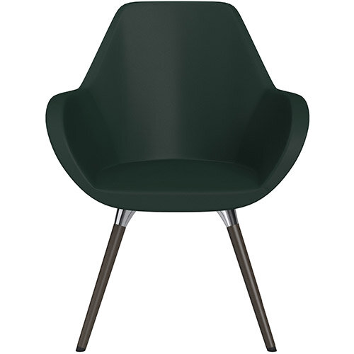 Fan Armchair with Wooden Legs Dark Green Softline Leather Look Seat &Dark Brown H11 Lacquer Base with Universal Teflon Glides  - Perfect Seating Solution for Breakout, Reception Areas &Boardroom