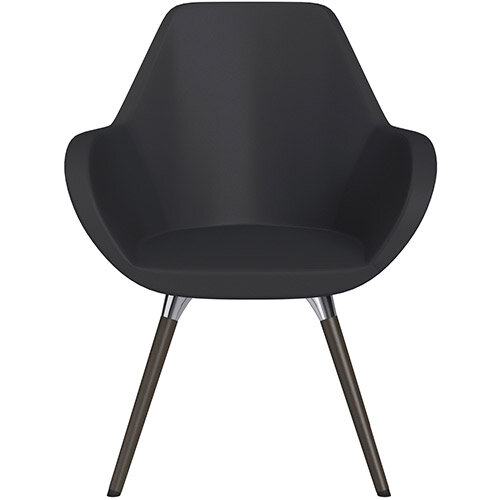 Fan Armchair with Wooden Legs Dark Purple Softline Leather Look Seat &Dark Brown H11 Lacquer Base with Universal Teflon Glides  - Perfect Seating Solution for Breakout, Reception Areas &Boardroom