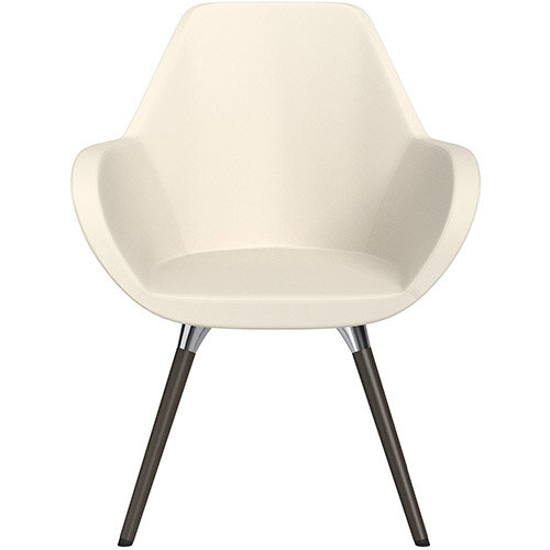 Fan Armchair with Wooden Legs White Softline Leather Look Seat &Dark Brown H11 Lacquer Base with Universal Teflon Glides  - Perfect Seating Solution for Breakout, Reception Areas &Boardroom