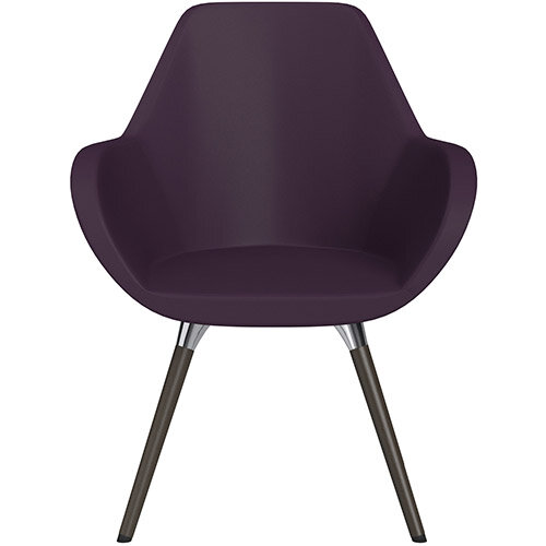 Fan Armchair with Wooden Legs Light Purple Softline Leather Look Seat &Dark Brown H11 Lacquer Base with Universal Teflon Glides  - Perfect Seating Solution for Breakout, Reception Areas &Boardroom