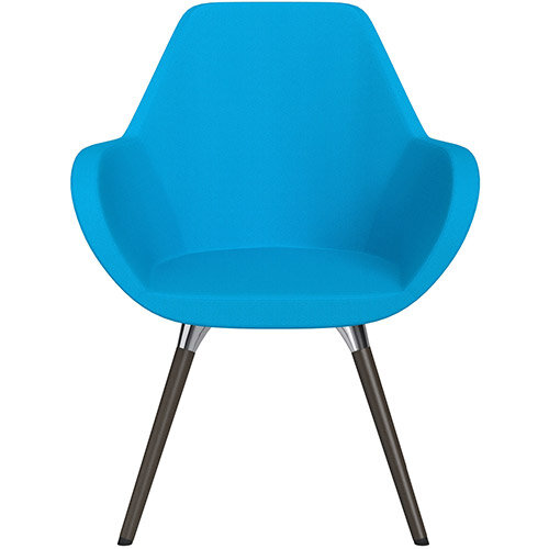 Fan Armchair with Wooden Legs Sky Blue Sprint Fabric Seat &Dark Brown H11 Lacquer Base with Universal Teflon Glides  - Perfect Seating Solution for Breakout, Reception Areas &Boardroom