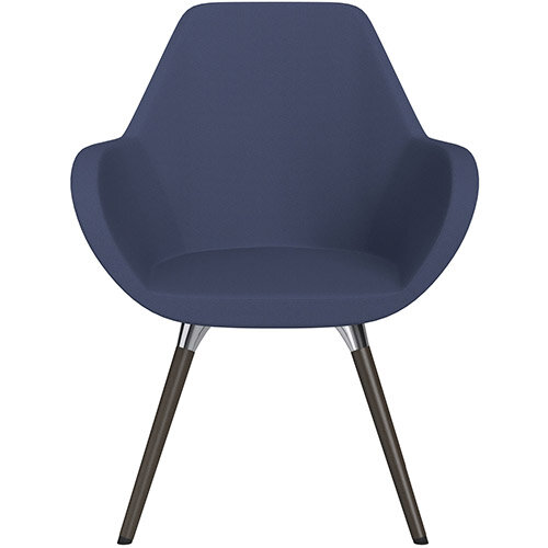 Fan Armchair with Wooden Legs Light Purple Sprint Fabric Seat &Dark Brown H11 Lacquer Base with Universal Teflon Glides  - Perfect Seating Solution for Breakout, Reception Areas &Boardroom