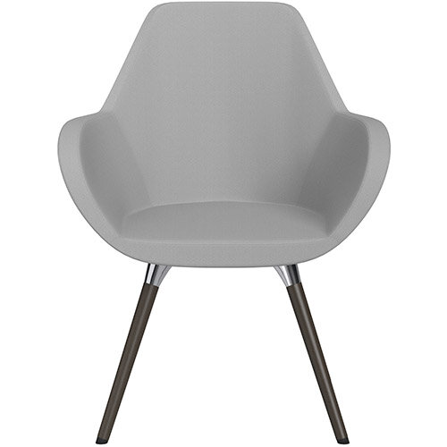 Fan Armchair with Wooden Legs Light Grey Sprint Fabric Seat &Dark Brown H11 Lacquer Base with Universal Teflon Glides  - Perfect Seating Solution for Breakout, Reception Areas &Boardroom