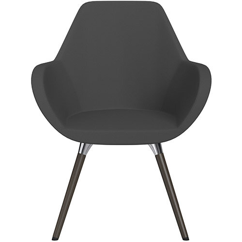 Fan Armchair with Wooden Legs Dark Grey Sprint Fabric Seat &Dark Brown H11 Lacquer Base with Universal Teflon Glides  - Perfect Seating Solution for Breakout, Reception Areas &Boardroom