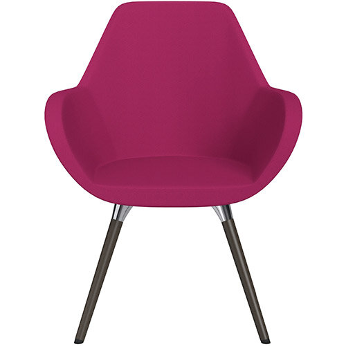 Fan Armchair with Wooden Legs Pink Sprint Fabric Seat &Dark Brown H11 Lacquer Base with Universal Teflon Glides  - Perfect Seating Solution for Breakout, Reception Areas &Boardroom