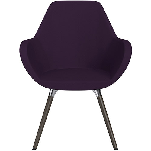 Fan Armchair with Wooden Legs Plum Purple Sprint Fabric Seat &Dark Brown H11 Lacquer Base with Universal Teflon Glides  - Perfect Seating Solution for Breakout, Reception Areas &Boardroom
