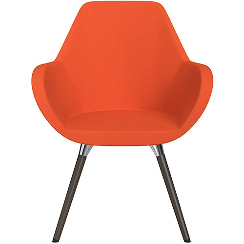 Fan Armchair with Wooden Legs Orange Sprint Fabric Seat &Dark Brown H11 Lacquer Base with Universal Teflon Glides  - Perfect Seating Solution for Breakout, Reception Areas &Boardroom