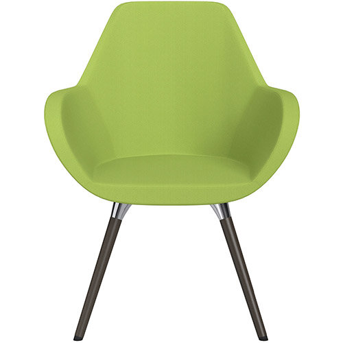 Fan Armchair with Wooden Legs Light Green Sprint Fabric Seat &Dark Brown H11 Lacquer Base with Universal Teflon Glides - Perfect Seating Solution for Breakout, Reception Areas &Boardroom